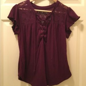 NOBO Purple Cap Sleeve Lace-Up Front Blouse.  M